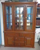 21ST CENTURY HARDWOOD SIDE CABINET WITH 3 GLAZED DOORS OVER DRAWER & PANEL DOORS 196 CM TALL X 144