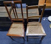 EARLY 20TH CENTURY MAHOGANY HAND CHAIR WITH BERGERE SEAT & SIMILAR OAK CHAIRS WITH BERGERE SEAT