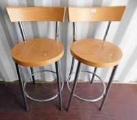 PAIR OF BAR CHAIRS WITH CHROME FRAMES AND BEECH TOPS