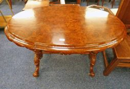 VICTORIAN OVAL WALNUT CENTRE TABLE WITH CARVED SPREADING SUPPORTS 114CM LONG X 72CM TALL
