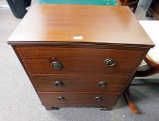 EARLY 20TH CENTURY MAHOGANY CHEST OF 3 DRAWERS ON BRACKET SUPPORTS 77CM TALL