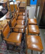 SET OF 8 LEATHER & MAHOGANY DINING CHAIRS ON TURNED SUPPORTS INCLUDING 2 ARMCHAIRS