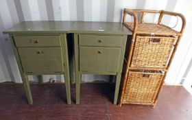 2 STAINED BEDSIDE CABINETS WITH A WICKER STORAGE BASKET Condition Report: The green