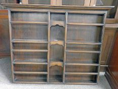 19TH CENTURY OAK WALL MOUNTED PLATE RACK 92CM TALL X 117CM WIDE Condition Report: