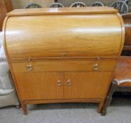 20TH CENTURY TEAK CYLINDER BUREAU WITH FITTED INTERIOR DRAWER & 2 PANEL DOORS 99CM TALL