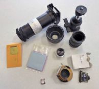 VARIOUS CAMERA RELATED ITEMS TO INCLUDE A SELECTION OF PIN HOLES FOR PIN HOLE CAMERA,