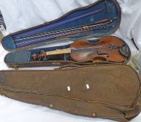 VIOLIN WITH 36 CM LONG 2 PIECE BACK IN A FITTED CASE WITH COVER AND 2 BOWS Condition