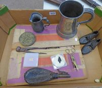 OBSIDIAN ARROW HEAD, LEATHER BODIED SHOT FLASK WITH BRASS NOZZLE, FLAGON,
