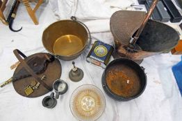 COPPER COAL SCUTTLE, BRASS JELLY PAN, BELLOWS,