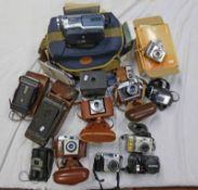 SELECTION OF CAMERAS ETC TO INCLUDE KODAK CAMERA WITH BALL BEARING SHUTTER AND CASE,
