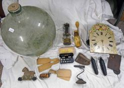 BRASS MINERS LAMP, CLOCK, CARBOY, GOFFERING IRON,