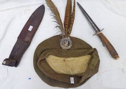 LOVAT'S SCOUTS CAP BADGE ON A UNMARKED KHAKI BALMORAL BONNET TOGETHER WITH A FS STYLE KNIFE WITH 15.