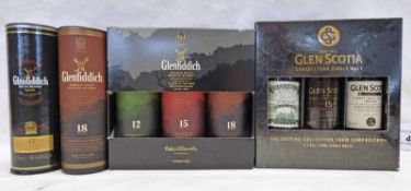 SELECTION OF GLENFIDDICH MINIATURES TO INCLUDE 12, 15 & 18 YEAR OLDS, GLEN SCOTIA,