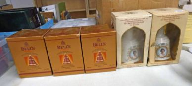 3 BELLS 8 YEAR OLD 1999 CHRISTMAS DECANTERS & 2 BELLS DECANTERS TO COMMEMORATE THE 60TH BIRTHDAY OF
