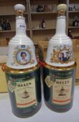 2 BELLS EXTRA SPECIAL CHRISTMAS 1989 & 1990 WHISKY DECANTERS AND 2 OTHER COMMEMORATIVE BELLS