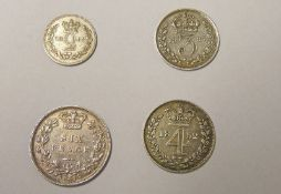 VARIOUS VICTORIA SILVER COINS TO INCLUDE 1883 SIXPENCE, 1852 MAUNDY FOURPENCE,