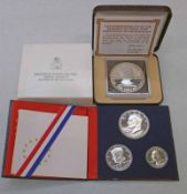 1976 UNITED STATE BICENTENNIAL SILVER 3 COIN PROOF SET AND 1978 BAHAMAS ANNIVERSARY PRINCE CHARLES
