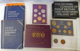TWO 1970 UK PROOF COIN SETS, TWO 1971 UK PROOF COIN SETS, 1966 UK 8-COIN SET,