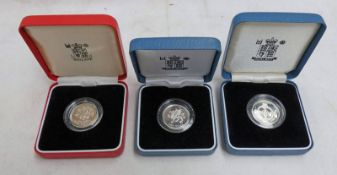 1986 UK SILVER PROOF PIEDFORT £1, 1995 UK SILVER PROOF £1 AND 1996 UK SILVER PROOF £1,