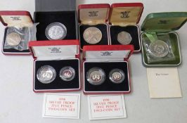 TWO 1990 ROYAL MINT SILVER PROOF FIVE PENCE TWO COIN SETS, BOTH IN CASE OF ISSUE WITH C.O.