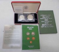 1974 COMMEMORATION OF THE 1100TH ANNIVERSARY OF THE SETTLEMENT OF ICELAND 2 COIN SET AND 1981 NEW