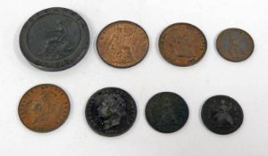 GOOD SELECTION OF VARIOUS 18TH - 20TH CENTURY GB COPPER COINAGE TO INCLUDE 1719 GEORGE I FARTHING,