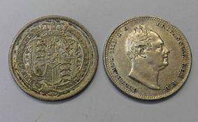 1820 GEORGE III SHILLING & 1836 WILLIAM IV SHILLING