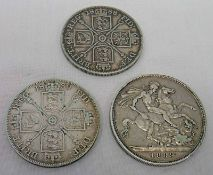 1889 VICTORIA CROWN & 1888 AND 1889 VICTORIA DOUBLE FLORINS