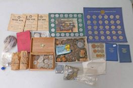 SELECTION OF VARIOUS UK AND WORLDWIDE COINS TO INCLUDE VARIOUS GEORGE V FLORINS, SILVER THREEPENCES,