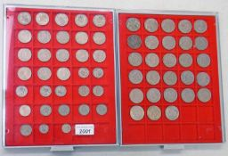 28 HALFCROWNS FROM 1947-1967 WITH SOME DUPLICATES, 18 FLORINS FROM 1947-1965, 13 SHILLINGS,