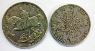 1935 GEORGE V SILVER CROWN COIN & 1889 VICTORIA DOUBLE FLORIN