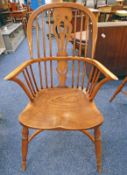 ELM WINDSOR ARMCHAIR ON TURNED SUPPORTS 102CM TALL