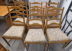 SET OF 6 ERCOL DINING CHAIRS WITH LADDER BACK & TURNED SUPPORTS