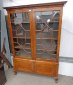 EARLY 20TH CENTURY INLAID MAHOGANY BOOKCASE WITH 2 ASTRAGAL GLAZED DOORS OVER 2 PANEL DOORS ON