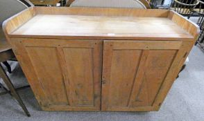 PINE CABINET WITH 2 PANEL DOORS - 89CM TALL