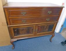 MAHOGANY CABINET WITH LONG DRAWERS OVER 2 PANEL DOORS ON SHAPED SUPPORTS LENGTH 119CM