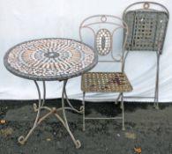 GARDEN METAL & MOSAIC TABLE & 2 FOLDING CHAIRS