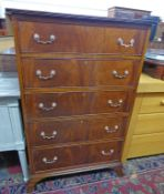 LATE 19TH CENTURY/EARLY 20TH CENTURY MAHOGANY CHEST OF 5 DRAWERS ON BRACKET SUPPORTS - 124CM TALL