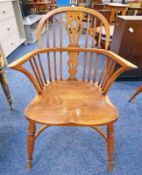 ELM WINDSOR ARMCHAIR ON TURNED SUPPORTS 92CM TALL