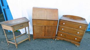 OAK CHEST OF 3 DRAWERS & WALNUT FALL FRONT BUREAU OAK HALL TABLE WITH SHAPED TOP & DECORATIVE