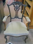 LATE 19TH CENTURY MAHOGANY OPEN ARMCHAIR WITH CARVED DECORATION & SHAPED SUPPORTS 94CM TALL