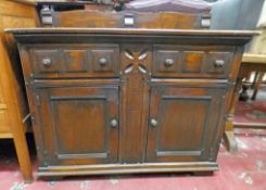 19TH CENTURY STYLE SIDEBOARD WITH 2 DRAWERS & 2 PANEL DOORS 102CM TALL X 122CM WIDE
