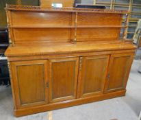 19TH CENTURY SATINWOOD CABINET WITH SHELVED BACK & 4 PANEL DOORS BELOW,