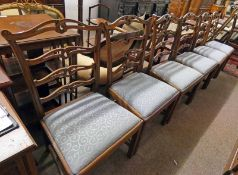 SET OF 6 MAHOGANY LADDER BACK CHAIRS ON SQUARE SUPPORTS
