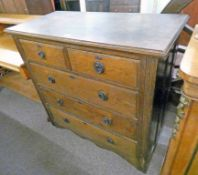 EARLY 20TH CENTURY OAK CHEST OF 2 SHORT OVER 3 LONG DRAWERS 101CM TALL