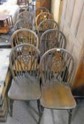 SET OF 10 20TH CENTURY OAK WHEELBACK DINING CHAIRS ON TURNED SUPPORTS