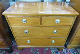 LATE 19TH/EARLY 20TH CENTURY MAHOGANY CHEST OF 2 SHORT OVER 2 LONG DRAWERS ON BRACKET SUPPORTS -