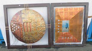 2 WOOD & METAL ART WALL HANGINGS 150 CM X 150 CM TALL