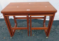 LATE 20TH CENTURY TEAK FOLD OUT CARD TABLE