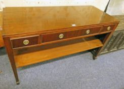 20TH CENTURY MAHOGANY SIDE TABLE WITH 3 DRAWERS UNDERSHELF & SQUARE SUPPORTS 142CM LONG